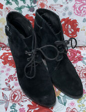 Jones Black Suede Heeled Lace-up Boot Size 6