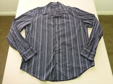 046 MENS NWOT YD. BLACK / WHITE / BLUE / GREY STRIPE L/S SHIRT XXL $80.