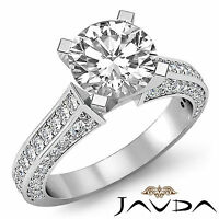 Round Shape Diamond Solitaire Pave Engagement Ring GIA F Color SI1 Platinum 2 ct