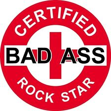 "3 – Red Certified Bad Ass Rock Star 2"" Hard Hat / Helmet Stickers H731"