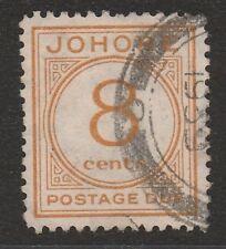 JOHORE 1938 8c ORANGE SG D3 FINE USED.
