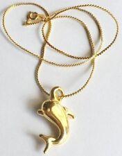 Collier pendentif chaîne rétro dauphin couleur or en relief 3881