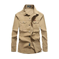 Men's Work Shirts Outdoor Tops Army Tactical Military Casual Long Sleeve