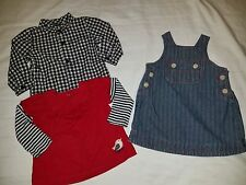Lot Of Baby Gap 6-12 Month Girls Clothes 2 Shirts & Jean Dress EUC