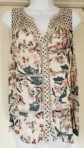 Lucky Brand Women's Top SIze M Boho Lace Accent Sleeveless Floral Semi Sheer