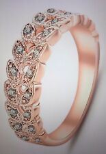 Gold Concise Classical CZ Crystal Ring Rose Gold Color Women's Size 9