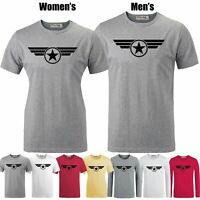 Captain America Super Soldier Design Couple T-shirt Mens Womens Graphic Tee Tops