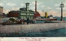 "1906 Postcard - Fire Boat ""New Yorker"" At The Battery - New York"