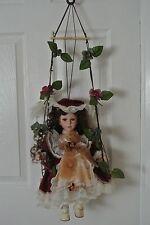 """Beautiful Porcelain Doll on Swing - Brown Hair & Brown Eyes - 16"""" w. Swing 30"""""""