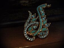 Vintage Aquamarine and Turquoise Navette Crystal Swirl Brooch. Gold Plated