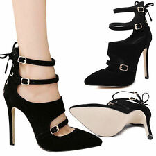 Unbranded High (3 in. to 4.5 in.) Strappy Solid Heels for Women
