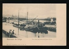 Belgium Souvenir de LIEGE Barges Boats Fishing 1900s u/b PPC