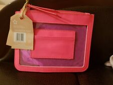 SUPERDRUG NEON PINK/CLEAR POUCH/COSMETIC BAG