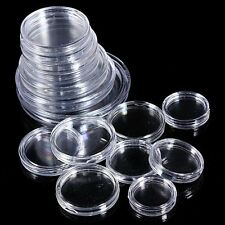 10pcs 25mm Applied Clear Round Cases Coin Storage Capsules Holder Plastic