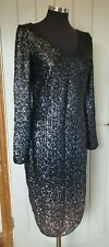 Monsoon Heidi black sequin dress size 16 ombre cocktail v neck brand new party