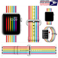 Pride Edition Rainbow Stripe Woven Nylon Band Strap For Apple Watch 42mm 44mm US