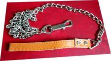 Metal Chain Leash For Walking leather Handle 3mm x 4 feet Lead Long Dog Pet Tool