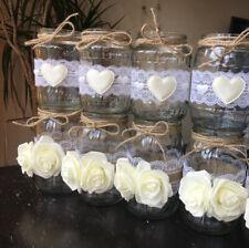 9x Rustic Wedding Jars Table Centrepiece Candle Holder Vase Decor Handmade