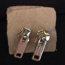 Zipper Pull Earrings Gold Tone Small Minimalist Stud Pierced
