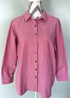 J. JILL Solid Pink Front Long Sleeve Blouse Top Shirt Sz M