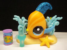 LITTLEST PET SHOP #2479 ORANGE BLUE GLITTER ANGEL FISH SEAWEED ACCESSORIES