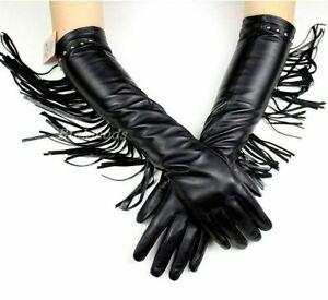 Women Warm Velvet Lining Genuine Leather Very Long Gloves Winter Tassel Mittens