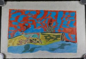 Original 1986 Lithograph by Canadian Inuit Artist William Noah Listed