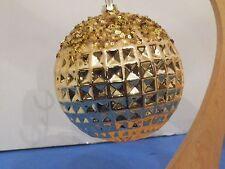 NWT LG 5' BLOWN GLASS GLITTERED DISCO BALL GOLD CHRISTMAS ORNAMENT