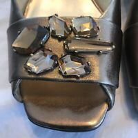 Anne Klein iflex 9M Gold Metallic Open Toe Sling-back Sandal w/Bling On Toe EUC