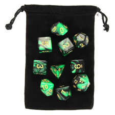 Night Elf Green Dungeons and Dragons Polyhedral Dice Sets with Free Pouches