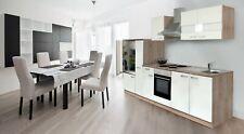 respekta Küchenzeile Küche Küchenblock Einbauküche 300 cm Eiche weiß Komplett