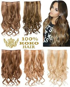 KOKO Hair 180g Streak Highlighted One Piece/Weft Curly Clip-in Extensions