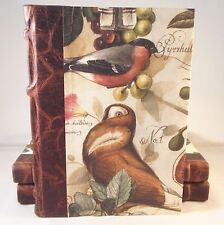Marrone Scuro in Pelle Spined Address Book FODERATO 75 + pagine Tagged A-Z. gli uccelli e frutta