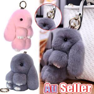 Adorable Plush Fluffy Bag Rabbit Charm Keychain Toy Pendant Keyring Fur Bunny