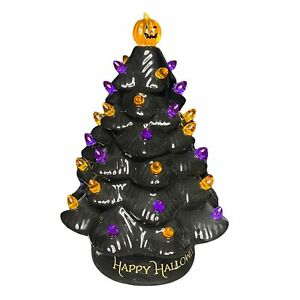 "Mr Halloween Ceramic Tree Haunted Black 12""NEW Pumpkin LED Lighted Slight Flaws"
