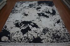 Indian 8x10 240x300 Handmade Knotted Modern Wool Art Silk Carpet Area Rug Hali