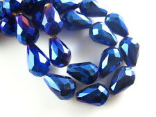 10pcs Metal Blue Glass Crystal Faceted Teardrop Beads 10x15mm Spacer Findings