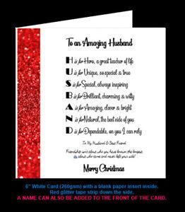 'Husband Poem' Birthday Card, Christmas Card, Amazing Husband, Special Husband