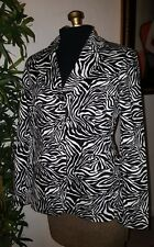 NYP suits zebra animal print jacket button down lined women's size 8 medium