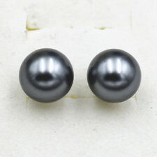 NEW 12mm  gray South Sea Shell Pearl & 925 Silver Stud Earrings