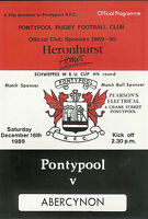 PontypoolvAbercynon - Welsh Cup - 4th round 16 Dec 1989 RUGBY PROGRAMME