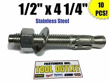 """(QTY 10) 1/2"""" x 4 1/4"""" Concrete Wedge Anchor Stainless Steel Grade 304"""