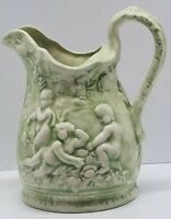 Vtg Gem Mid Century Art Deco Antique Pitcher European hand painted pottery Green