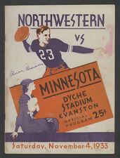 1933 BERNIE BIERMAN AUTOGRAPH MINNESOTA NORTHWESTERN FOOTBALL PROGRAM COVER JSA