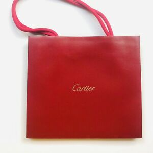 """[Authentic} Cartier Red Shopping Gift Paper Bag Small L 8"""" x H 7"""" x D 3"""""""