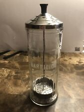 """Vintage King Research Barbicide Glass Disinfectant Jar 11 1/2"""" Tall"""