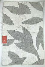Opalhouse Leaf Textured Bath Rug Silver Gray & White Cotton Bathroom Shower NEW