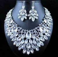 TWINKLING AUSTRIAN RHINESTONE CRYSTAL BIB NECKLACE EARRINGS SET PROM N987 CLEAR