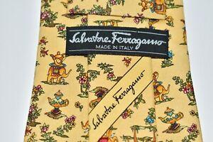 "Salvatore Ferragamo MEN'S TIE YELLOW/ELEPHANT PRINT  W: 4""  L: 59"""
