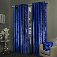Blackout Royal Blue Crushed Velvet Eyelet Ring Top Fully Lined Curtains Pair New